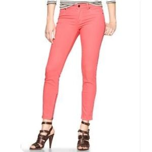 GAP 1969 Coral/Flamingo Ankle Zip Legging Jeans 14